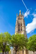 High Gothic Bell Tower of Catherdal, Bordeaux Stock Photos