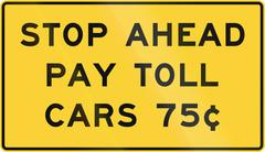 United States MUTCD road sign - Stop ahead - pay toll - stock illustration