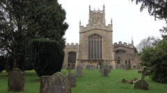 St James Church Cemetery steeple woman Chipping Campden England 4K Stock Footage
