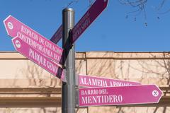 Street signs in the city of Cadiz, Andalusia, Spain - stock photo