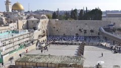 Time lapse of the wailing wall by daylight in Jerusalem Stock Footage