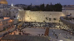 Time lapse of sunset at the wailing wall in Jerusalem Stock Footage
