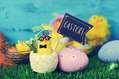 teddy chick with a signboard with the word easter - stock photo