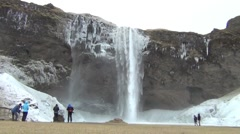 The Seljalandsfoss waterfall in Iceland Stock Footage
