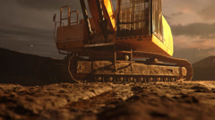 Big Digger With Brown Mud Stock Footage