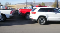 Pan Beds Of New Pickup Trucks All Lined Up At The Dealer Stock Footage