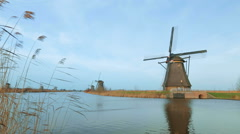 Dutch Windmill Scenery - stock footage