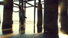 Slow Motion Woman Fitness Beach Sunset Healthy Outdoor Lifestyle - stock footage