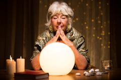 Predicting future from crystal ball Stock Photos