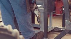 Metal Worker Working in factory Stock Footage