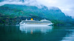 Cruise Ship, Cruise Liners On Hardanger fjorden, Norway - stock footage