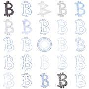 Hand-drawn Bitcoin symbol collage - stock illustration