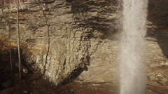 4k Aerial Winter Tennessee Waterfall 002 Pan Right with Rainbows Stock Footage