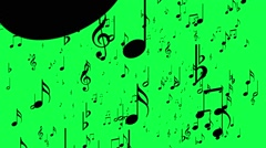 Animated background with musical notes, Music notes flowing, flying stream Stock Footage