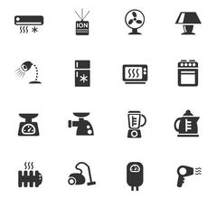 home appliances icon set - stock illustration