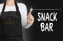 Snack bar touchscreen is operated by chef Stock Photos