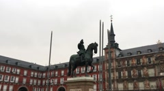 City Madrid in Spain square with statue and historical buildings Stock Footage