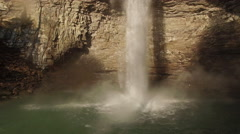 4k Aerial Winter Tennessee Waterfall 007 Wide Low Pull Back Stock Footage