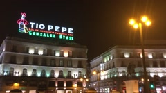 City Madrid in Spain night-time bustle in downtown - stock footage