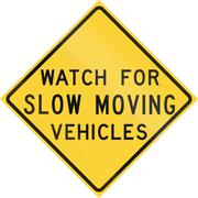 Road sign used in the US state of Texas - Watch for slow moving vehicles - stock illustration