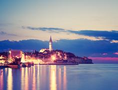 Evening View of Medieval Town Rovinj in Croatia - stock photo
