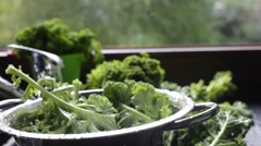 Washed kale falls with water splashes into colander Stock Footage