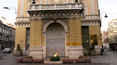 View of Eternal flame in Sarajevo - stock footage
