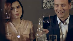 Family drinking wine in a restaurant Stock Footage