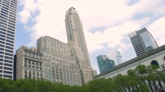 Exterior art deco skyscraper Bryant Park Stock Footage