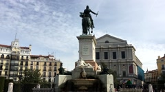 City Madrid in Spain monument with statue of man on horse on square Stock Footage
