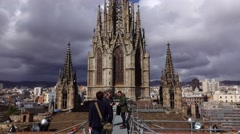 Main steeple of Gothic Cathedral, view from roof, tilt up shot, observation deck Stock Footage