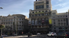 83.City Madrid in Spain municipal transportation in historical downtown Stock Footage