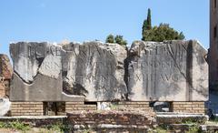 Ancient Inscription in Roman Forum Stock Photos