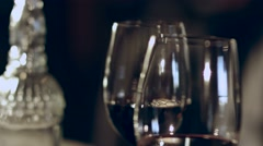Nice meeting friends at a restaurant for glass of wine Stock Footage