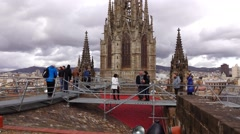 Tourists at steel gangway on church roof, observation deck, POV shot - stock footage