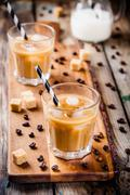 Iced coffee in glass Stock Photos