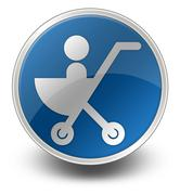 Icon, Button, Pictogram Stroller - stock illustration