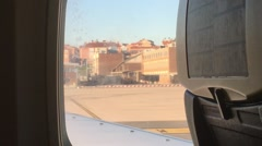 View from the window of airplane which moves Stock Footage
