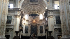 City Bergamo in Italy interior of beautiful cathedral with decorate  Stock Footage