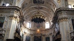 City Bergamo in Italy interior of beautiful cathedral with detail of ceiling - stock footage