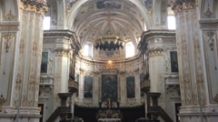 City Bergamo in Italy interior of beautiful cathedral with visitors Stock Footage
