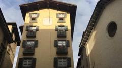 City Bergamo in Italy beautiful building of restaurant  Stock Footage