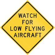 Road sign used in the US state of Texas - Watch for low flying aircraft - stock illustration
