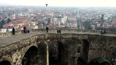 City Bergamo in Italy people on wall observe landscape Stock Footage