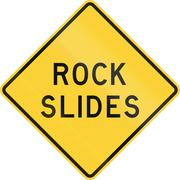 Road sign used in the US state of Texas - Rock slides - stock illustration