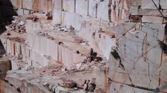Old marble stone quarry with huge blocks of stone Stock Footage