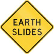 Road sign used in the US state of Texas - Earth slides Stock Illustration