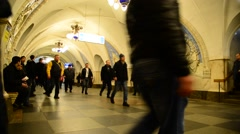 Moscow, Russia - Many people at the metro station Taganskaya Stock Footage