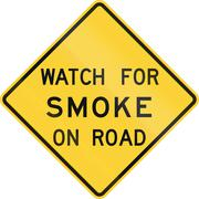 Road sign used in the US state of Texas - Watch for smoke on road - stock illustration