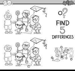 differences activity coloring book - stock illustration